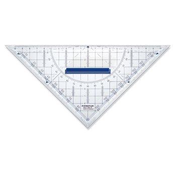 STAEDTLER Mars® 568 - Equerre géométrique plastique transparent 22 cm avec rapporteur intégré et poignée de préhension amovible
