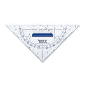 STAEDTLER Mars® 568 - Equerre géométrique plastique transparent 16 cm avec rapporteur intégré et poignée de préhension amovible