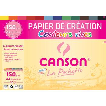 CANSON Pochette Canson® Papier Création Couleur A4 12Fl 150G/m² - Couleurs Vives Assorties