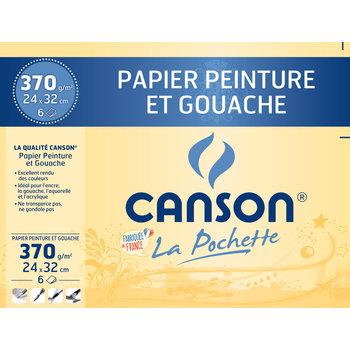 CANSON Pochette Canson® Papier Peinture Et Gouache 24X32Cm 6Fl 370G/m²
