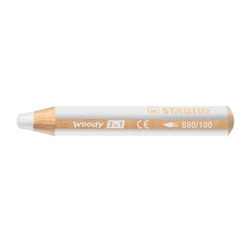STABILO Crayon multi-talents woody 3in1 - blanc titane