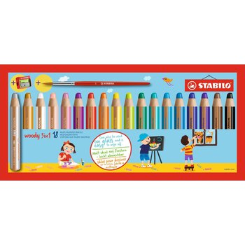 STABILO Etui carton x 18 crayons multi-talents woody 3in1 +1 pinceau rond taille 8 + 1 taille-crayon