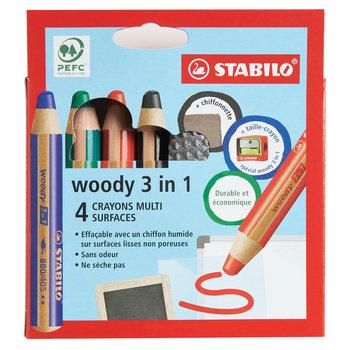 STABILO Etui carton x 4 crayons multi-talents woody 3in1 + 1 taille crayon + 1 chiffonnette - noir + bleu + rouge + vert