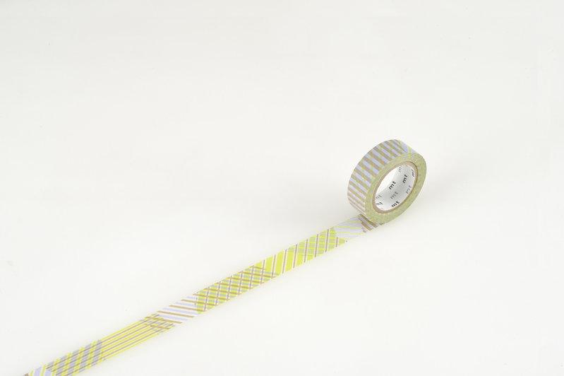 MT MASKING TAPE MT 1P Motif rayé mix stripe / checked green