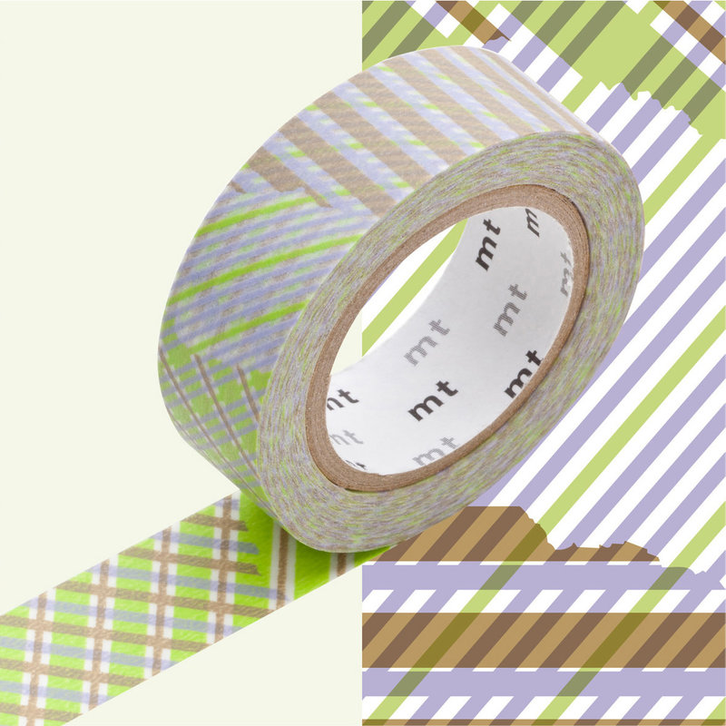 MT MASKING TAPE MT 1P Motif rayé mix stripe / checked green