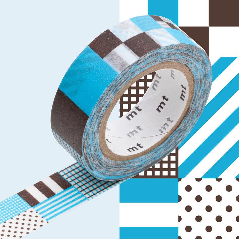 MT MASKING TAPE MT 1P Motif rayé carré mix blue