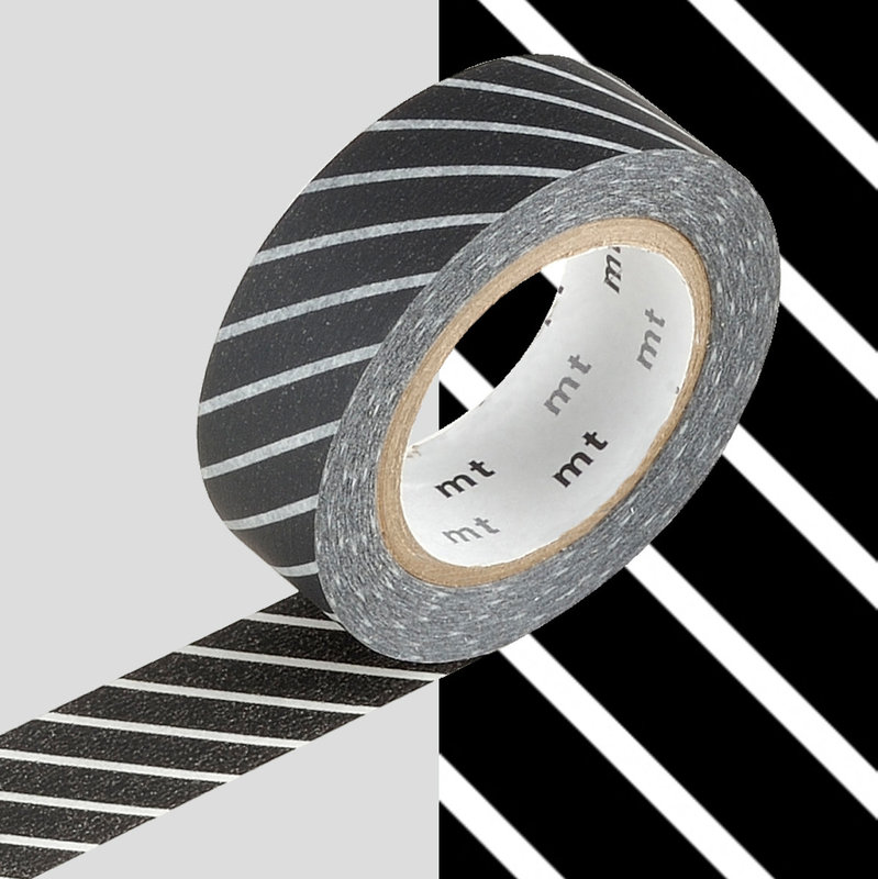 MT MASKING TAPE MT 1P Motif rayé noir / stripe black