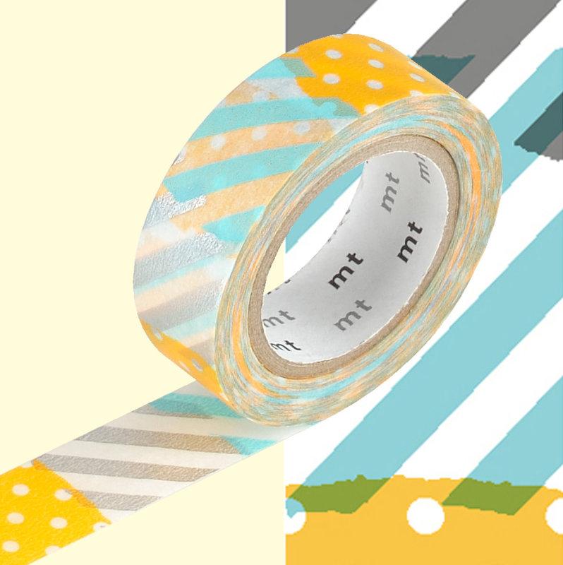 MT MASKING TAPE MT 1P Motif pois-rayures bleu orange tsugihagi H