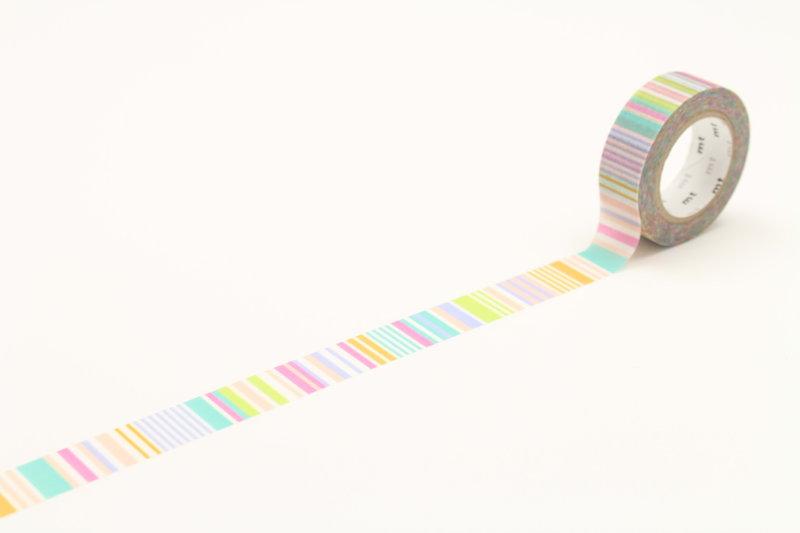 MT MASKING TAPE MT 1P Motif multi lignes pastel / multi border pastel