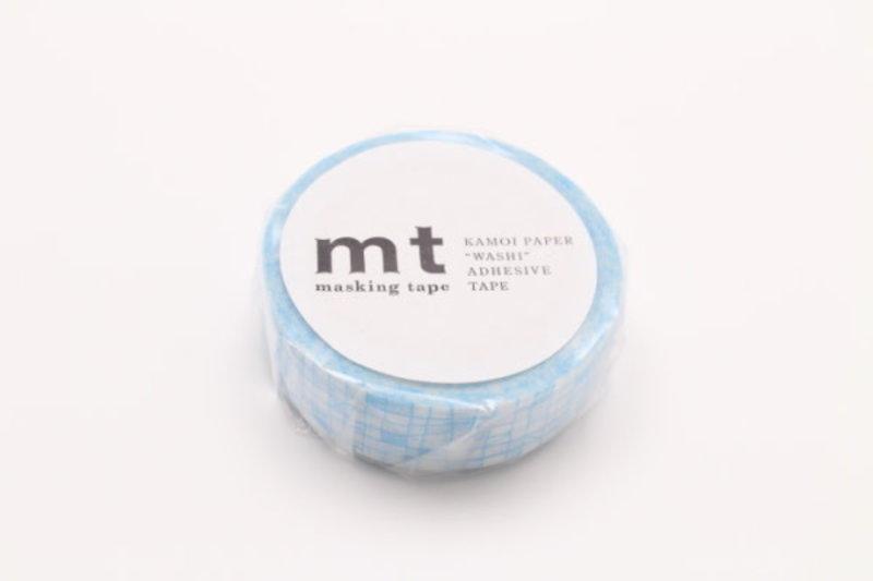 MT MASKING TAPE MT 1P Motif hachures irrégulières bleu / line pale blue