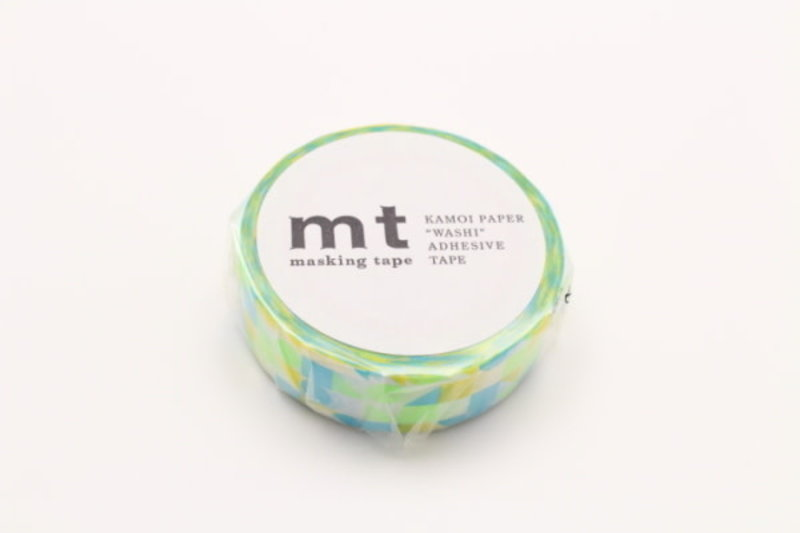MT MASKING TAPE MT 1P Motif mosaïque formes bleu / maru blue