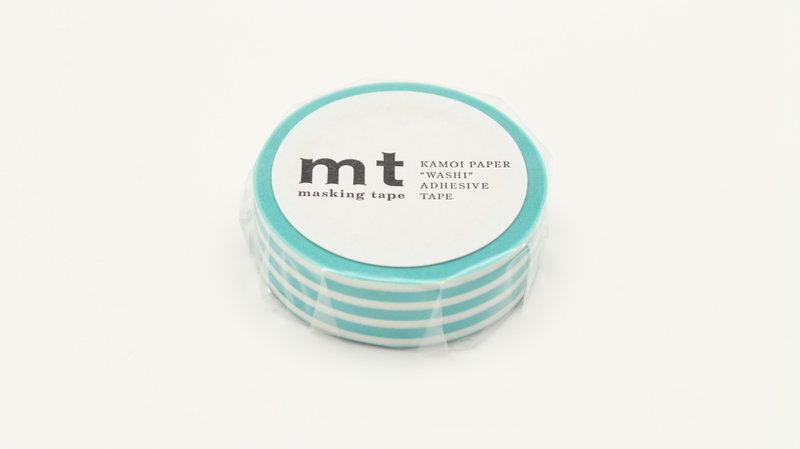 MT MASKING TAPE MT 1P Motif lignes bleu lagon / border soda