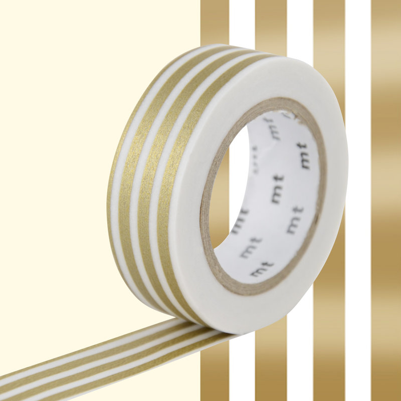 MT MASKING TAPE MT 1P Motif lignes or / border gold