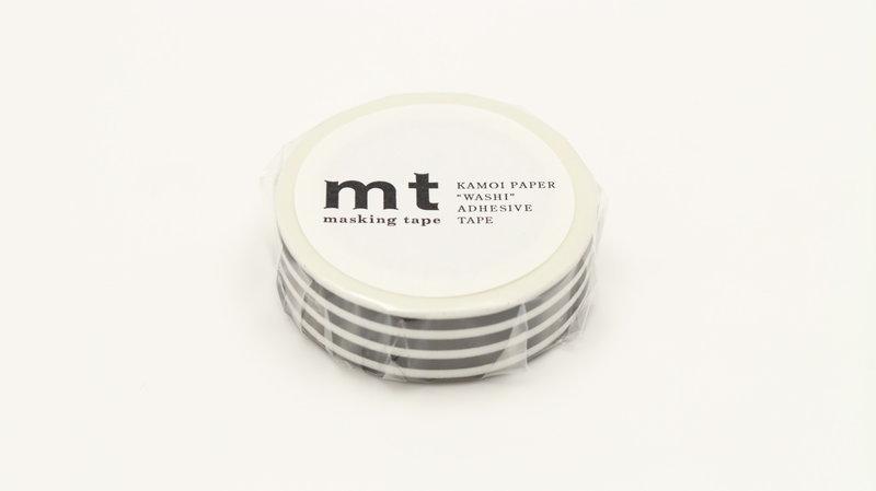 MT MASKING TAPE MT 1P Motif lignes noir / border black