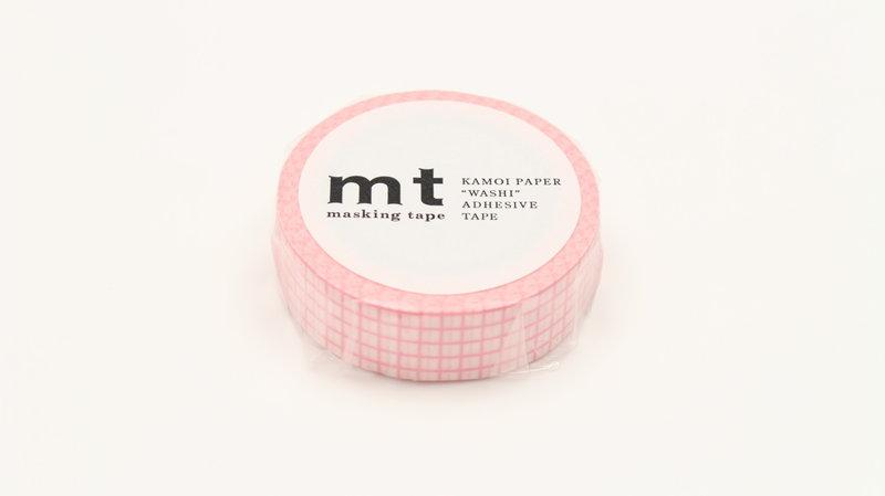 MT MASKING TAPE MT 1P Motif quadrillé rose fond rose