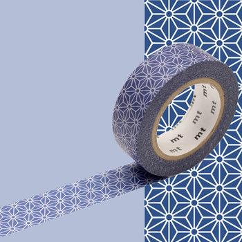 MT MASKING TAPE MT 1P Motif étoile fond bleu asanoha konruri