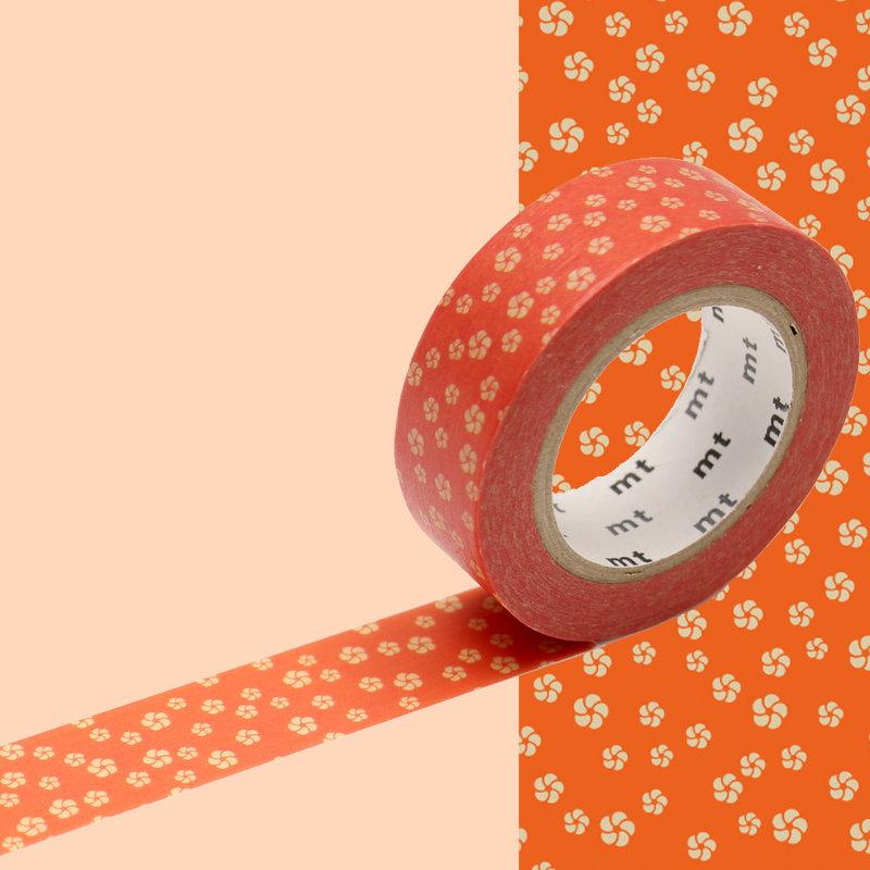 MT MASKING TAPE MT 1P Motif fleurs beige fond orange / neijiriume akadaidai