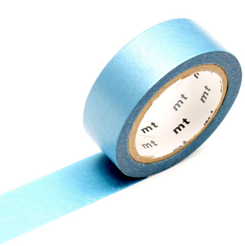 MT MASKING TAPE 1P Uni Pearl irisé bleu clair  - 1,5 cm x 10 m