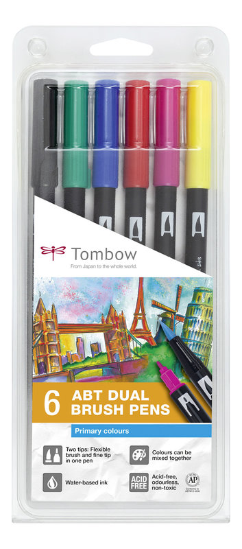 TOMBOW ABT-6P-1 Feutres pinceaux Dual Brush Pen Kit de 6, couleurs primaires