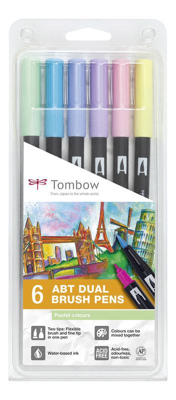 TOMBOW ABT-6P-2 Feutres pinceaux Dual Brush Pen Kit de 6, couleurs pastel