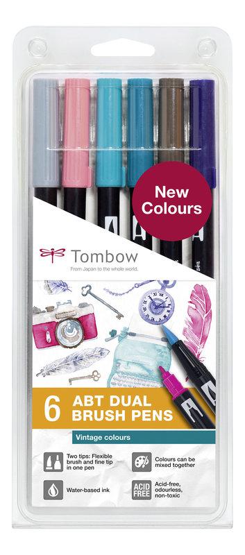 TOMBOW ABT-6P-5 Feutres pinceaux Dual Brush Pen Kit de 6, Vintage Colours (respectivement 1x ABT-N49, N52, 379, 407, 569, 817)