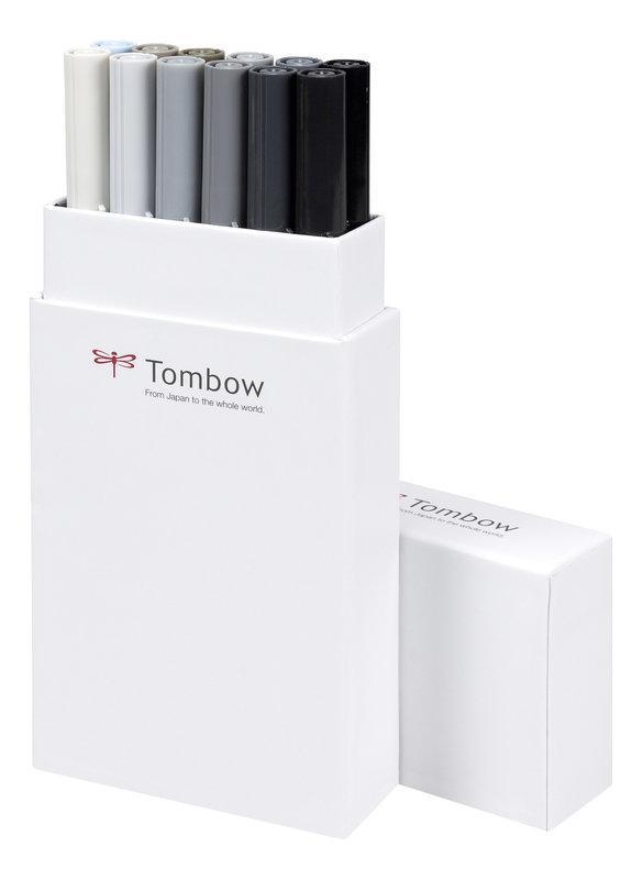 TOMBOW ABT-12P-3 Feutres pinceaux Dual Brush Pen Kit de 12, tons de gris (respectivement 1 x N15, N25, N35, N45, N55, N57, N65, N75, N79, N89, N95, 491)