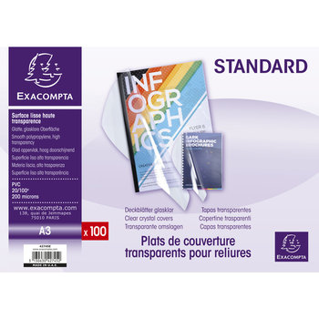 EXACOMPTA Boite 100 plats A3 PVC Cristal 20/100°