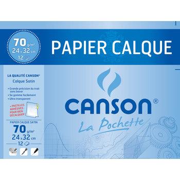 CANSON Pochette Canson® Papier Calque 24X32Cm 12Fl 70G/m² + Pastilles Adhésives RepositionnaBloces