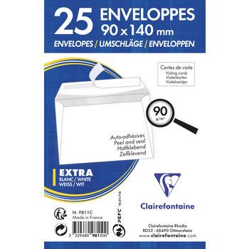 CLAIREFONTAINE Paquet de 25 enveloppes visite Adhéclair 90x140 90g - Blanc