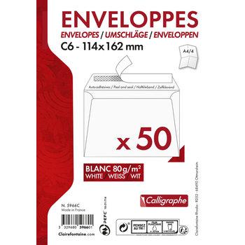 CLAIREFONTAINE Paquet de 50 enveloppes adhésives 114x162 80g - Blanc