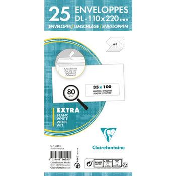 CLAIREFONTAINE Paquet de 25 enveloppes Adhéclair 110x220 fenêtre 35x100 80g - Blanc