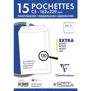 CLAIREFONTAINE Paquet de 15 pochettes Adhéclair 162x229 120g - Blanc