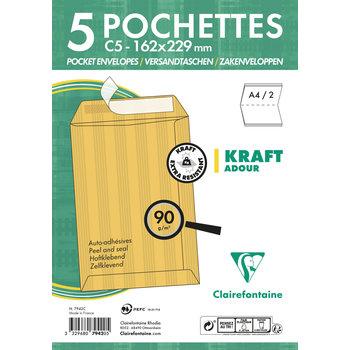 CLAIREFONTAINE Paquet de 5 pochettes Adhéclair 162x229 Kraft Adour 90g- Brun