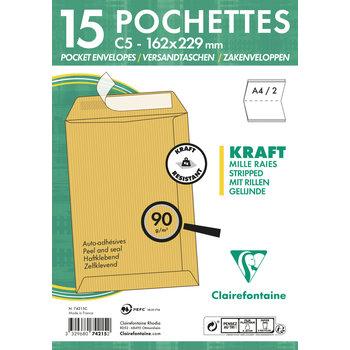 CLAIREFONTAINE Paquet de 15 pochettes Adhéclair 162x229 Kraft mille raies 90g - Brun