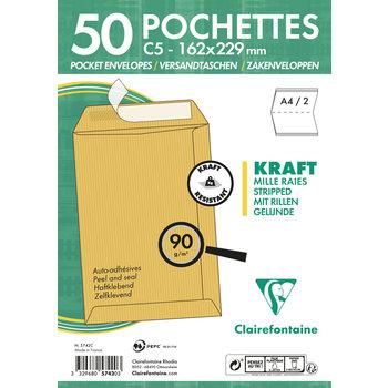 CLAIREFONTAINE Paquet de 50 pochettes Adhéclair 162x229 Kraft Mille raies 90g - Brun