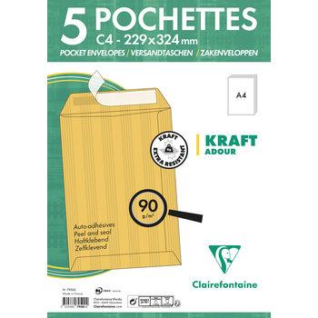 CLAIREFONTAINE Paquet de 5 pochettes Adhéclair 229x324 Kraft Adour 90g - Brun