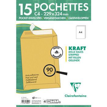 CLAIREFONTAINE Paquet de 15 pochettes Adhéclair 229x324 Kraft mille raies 90g - Brun