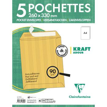 CLAIREFONTAINE Paquet de 5 pochettes Adhéclair 260x330 Kraft Adour 90g - Brun