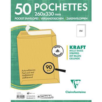 CLAIREFONTAINE Paquet de 50 pochettes Adhéclair 260x330 Kraft Mille raies 90g - Brun