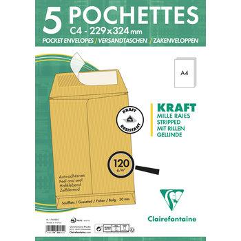 CLAIREFONTAINE Paquet de 5 pochettes à soufflet 229x324x30 Kraft 120g - Brun