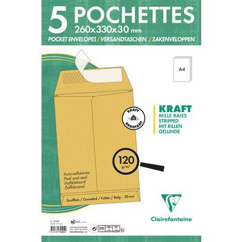 CLAIREFONTAINE Paquet de 5 pochettes à soufflet 260x330x30 Kraft 120g - Brun
