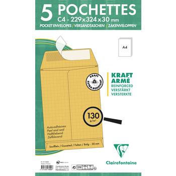 CLAIREFONTAINE Paquet de 5 pochettes à soufflet 229x324x30 Kraft armé 130g - Kraft