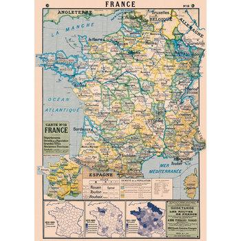 CAVALLINI Poster 50x70cm Vintage Carte de France