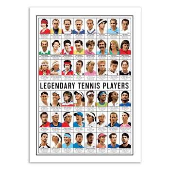 ART POSTER Legendary Tennis players - Olivier Bourdereau - 50 x 70 cm