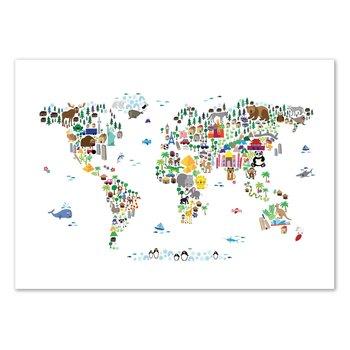 ART POSTER Animal World map - Michael Tompsett - 50 x 70 cm