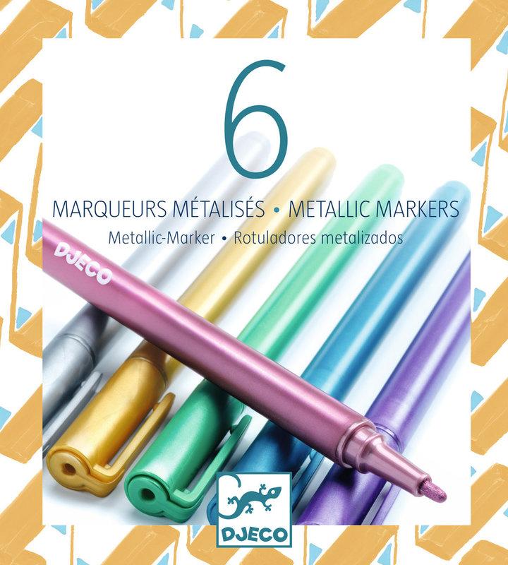 LOVELY PAPER Les couleurs - Pour les grands 6 marqueurs métalliques