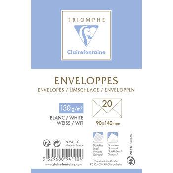 CLAIREFONTAINE Enveloppe visite gommée doublée 90x140 120g pqt 20
