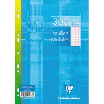 CLAIREFONTAINE Feuilles mobiles grands carreaux - 21x29,7 cm - 300 pages