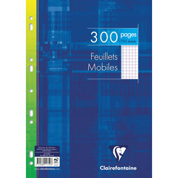 CLAIREFONTAINE FEUILLES MOBILES A4 300 PAGES 5X5 90G