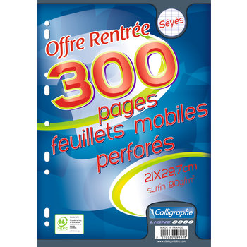CALLIGRAPHE Feuillets mobiles grands carreaux - A4 - 300 pages